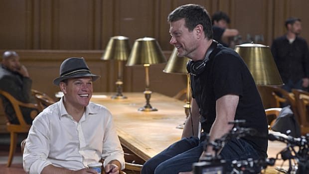 Writer/director George Nolfi (right) with actor Matt Damon on the set of The Adjustment Bureau