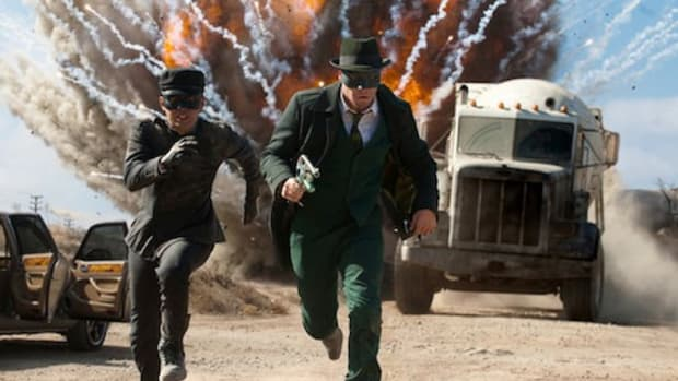 Jay Chou (left) and Seth Rogen star in Columbia Pictures' action film The Green Hornet.