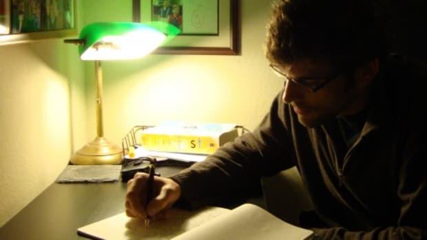 Screenwriter Andrew Lanham writes his first drafts in long hand.