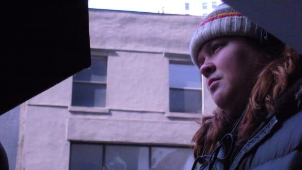 Katie on the set of SEEKING SUBLET.