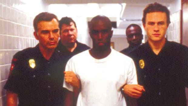 Heath Ledger (right) as Sonny Grotowski, Sean Combs (middle) as Lawrence Musgrove and Billy Bob Thornton (left) as Hank Grotowski in Monster's Ball.