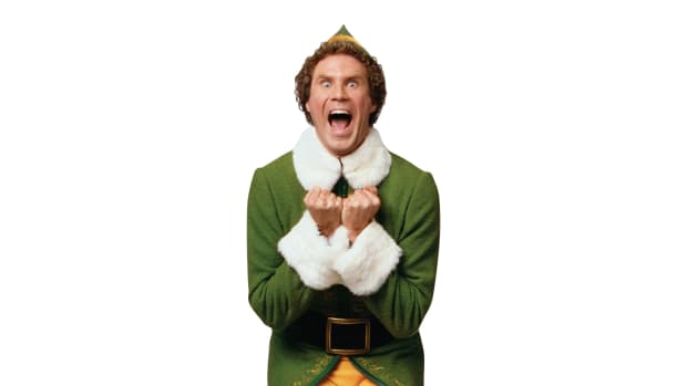 Buddy the elf in the movie ELF is excited