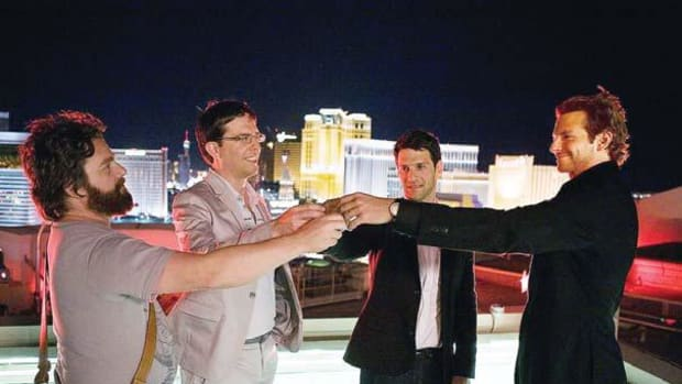 "The ""Wolfpack"" toasting in Las Vegas in The Hangover"