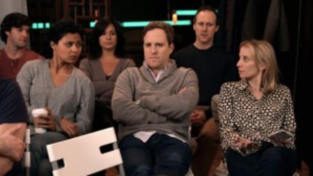 L-R; Ricky Dunlop (Ricky), Jolly Abraham (Jane), Tina Hart (Tina), Patch Darragh (Bryce), Gibson Frazier (Martin), Sarah Saltzberg (Daisy)