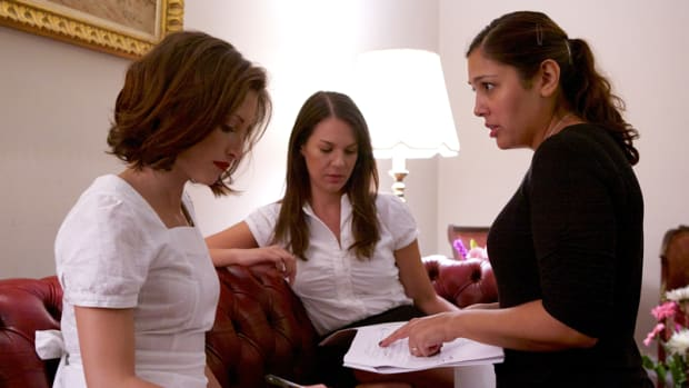 """Christina Brucato, Erin Fritch and Kim Garland on the set of """"Vivienne Again"""" 