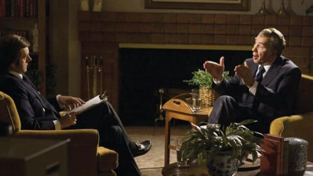 Michael Sheen stars as David Frost and Frank Langella as Richard Nixon in Frost/Nixon