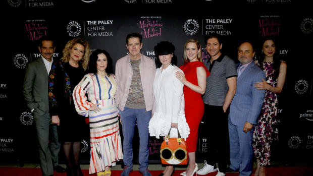 Tony Shalhoub, Caroline Aaron, Alex Borstein, Daniel Palladino, Amy Sherman-Palladino, Rachel Brosnahan, Michael Zegen, Kevin Pollak, and Marin Hinkle attend the Making Maisel Marvelous featuring Amazon Prime Original The Marvelous Mrs. Maisel at The Paley Center for Media (Photo by Lars Niki/Getty Images for Amazon Studios and The Marvelous Mrs. Maisel)