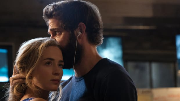 "A tender dance between Evelyn (Emily Blunt) and Lee (John Krasinski) in ""A Quiet Place"" is full of subtext about their worries for their children. (Credit: Paramount Pictures)"