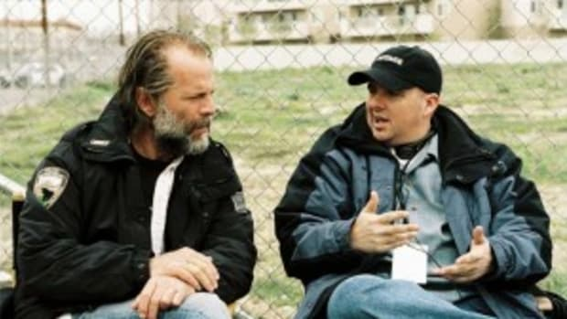 Willis and Richardson on set of 'Hostage'
