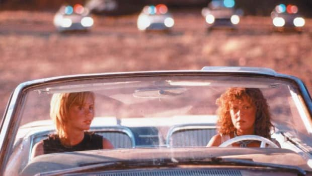 Geena Davis and Susan Sarandon in Thelma and Louise, written by Callie Khouri