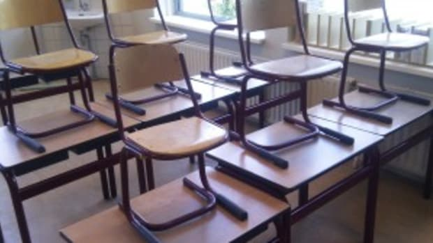Empty classroom in summertime