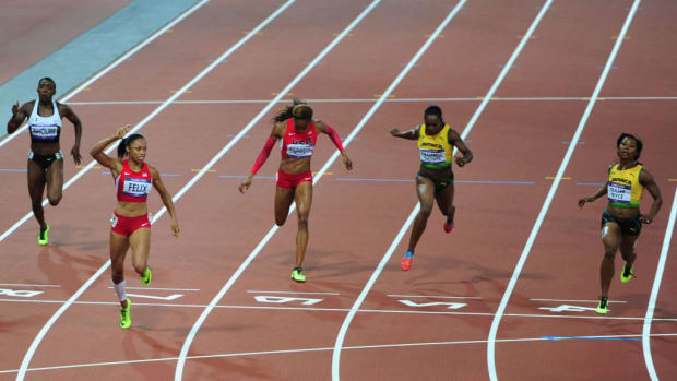 USA's Allyson Felix (left) comes home to win the Women's 200m Final from Jamaica's Shelly-Ann Fraser-Pryce (right) at the Olympic Stadium, London (Photo by EMPICS Sport - EMPICS/PA Images via Getty Images)