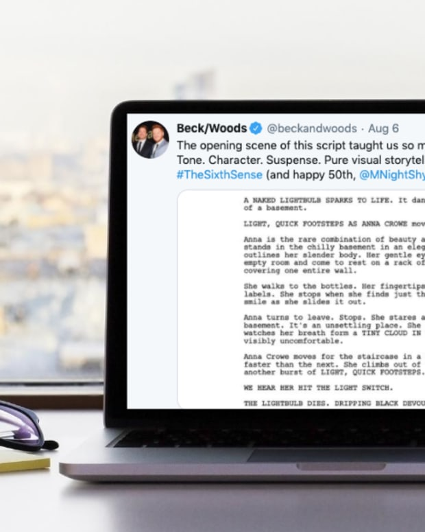 beck woods opening scene screenwriting twitter tips
