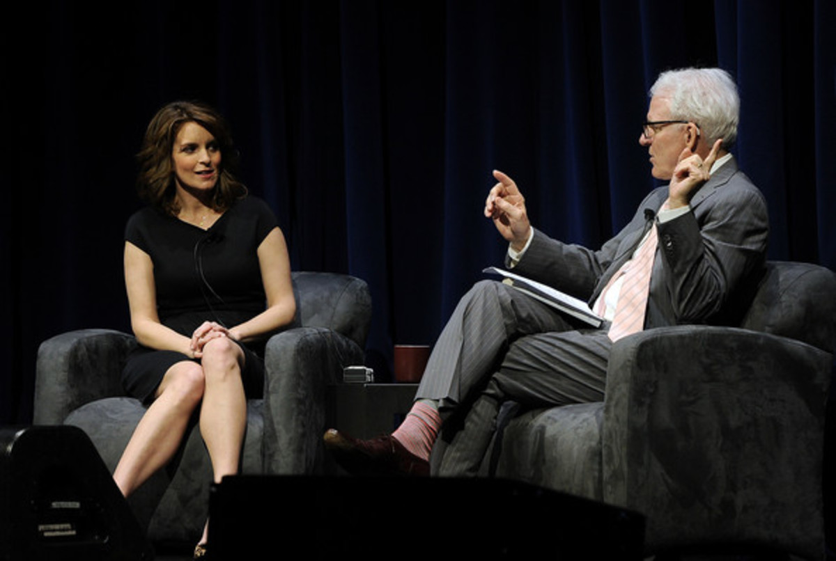Tina Fey And Steve Martin In Conversation To Benefit KPCC And KCET at the Nokia Theatre L.A. Live on April 19, 2011 in Los Angeles, California. (Getty Images)