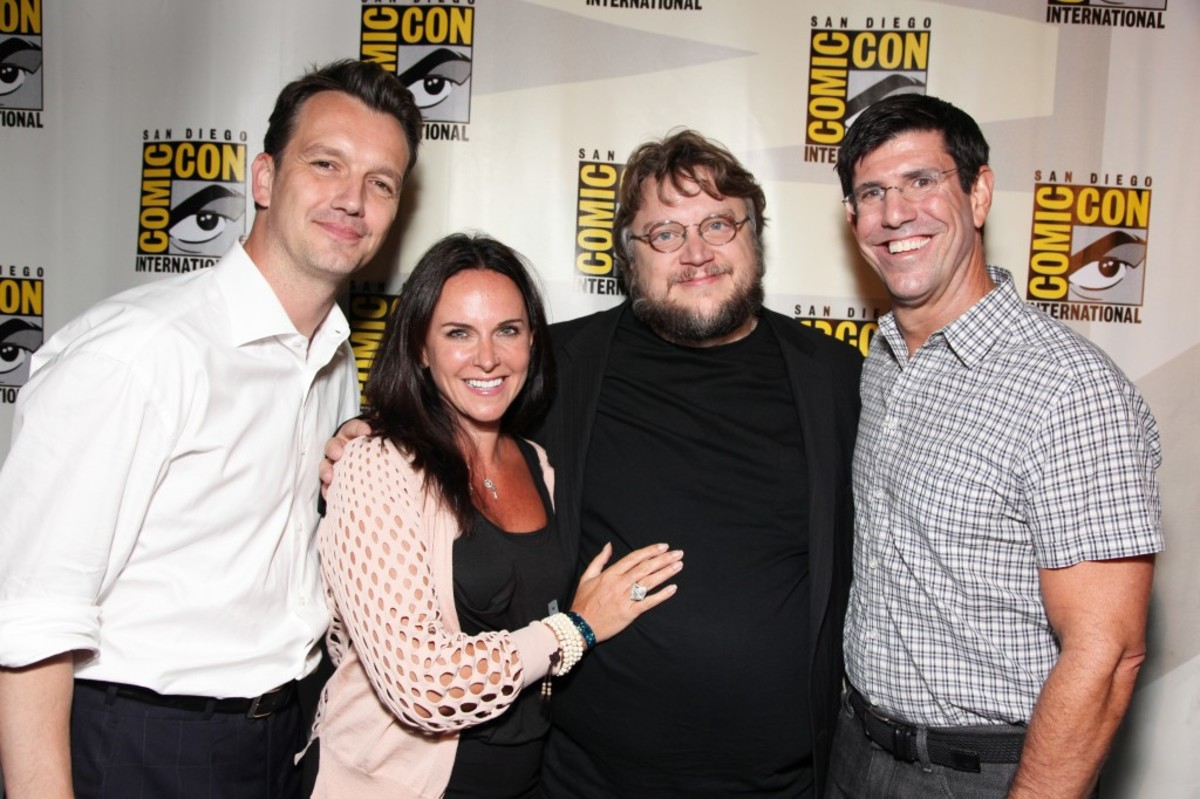 "SAN DIEGO, CA - JULY 22: Walt Disney Studios President of Production-Sean Bailey, Walt Disney Studios President of Marketing-MT Carney, Guillermo Del Toro and Walt Disney Studios Chairman-Rich Ross at the annoucement of the development of Disney's ""Haunted Mansion"" at 2010 Comic-Con on July 22, 2010 at the San Diego Convention Center in San Diego, California. (Photo by Eric Charbonneau/Le Studio/Wireimage)"