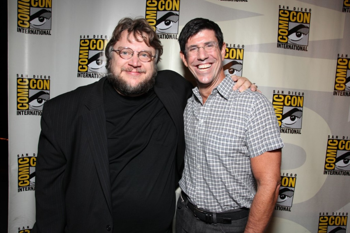 "SAN DIEGO, CA - JULY 22: Walt Disney Studios Chairman- Rich Ross and Guillermo Del Toro at the annoucement of the development of Disney's ""Haunted Mansion"" at 2010 Comic-Con on July 22, 2010 at the San Diego Convention Center in San Diego, California. (Photo by Eric Charbonneau/Le Studio/Wireimage)"