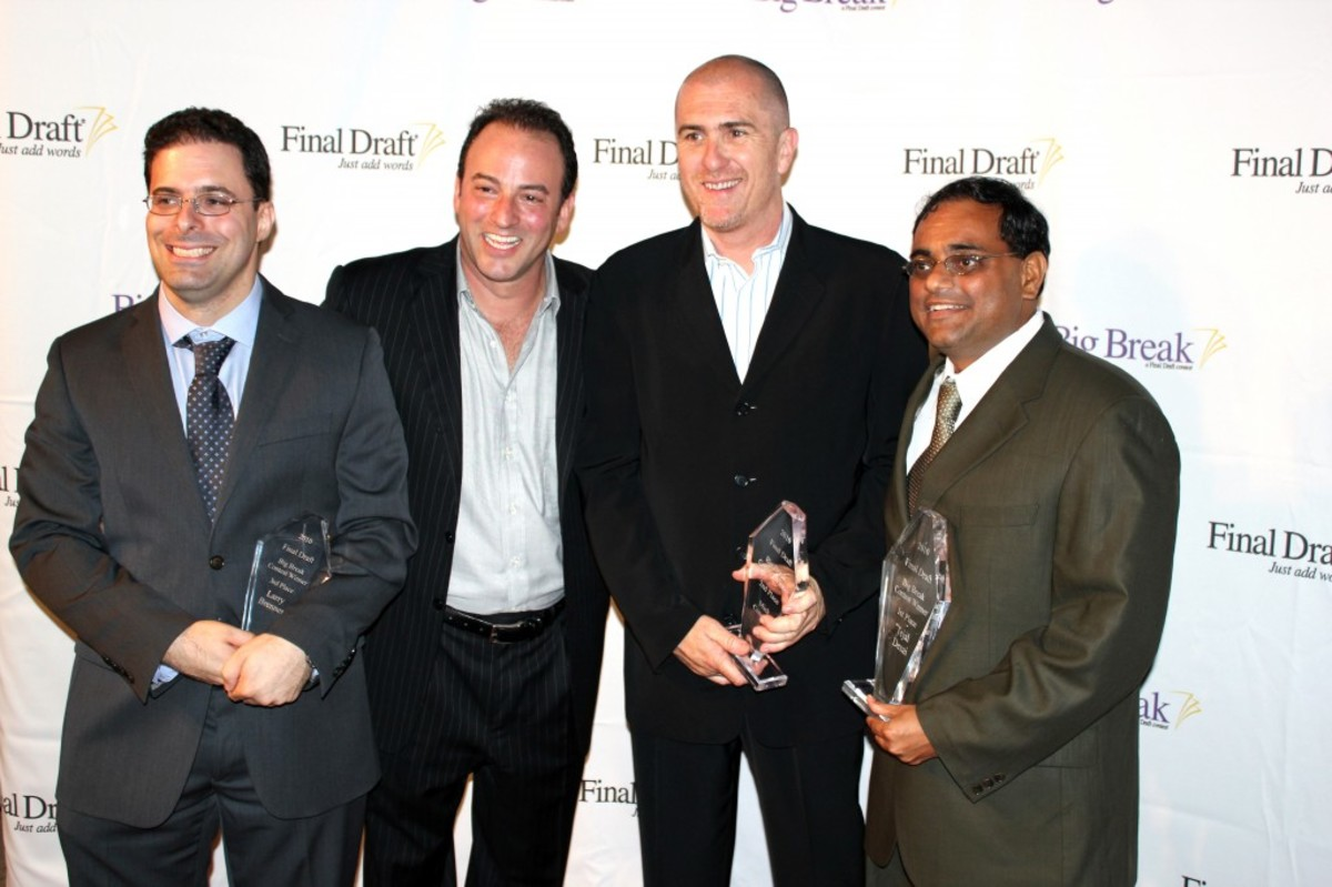 Marc Madnick, co-founder and CEO of Final Draft, Inc. (second from left) with the 2010 Final Draft, Inc. Big Break™ Contest Winners: (l to r) 3rd Place: Larry Brenner of New York, NY; 2nd Place: Mick Connolly of Melbourne, Australia; and 1st Place: Tejal Desai of Austin, TX.