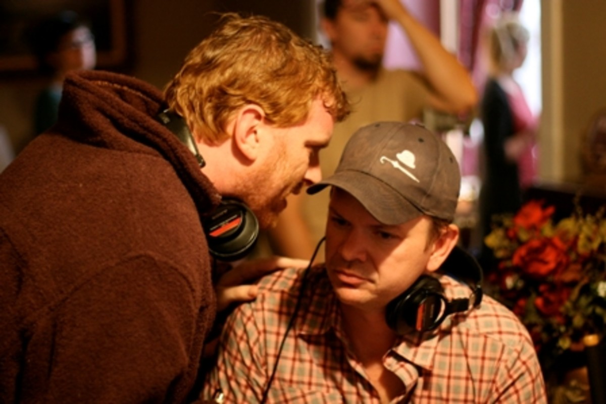 Director Gil Cates Jr. and screenwriter Kent Sublette (right) on the set of Lucky