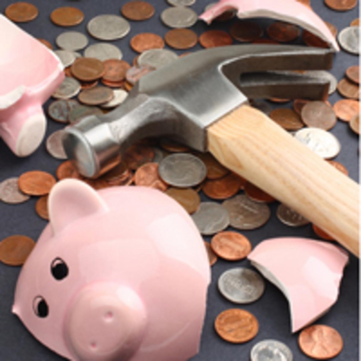 piggy bank hammer coins change cash