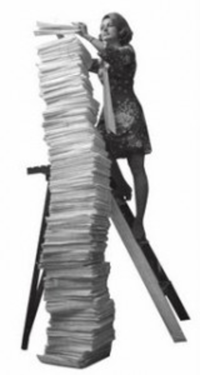 Ladder woman climbing stack of papers