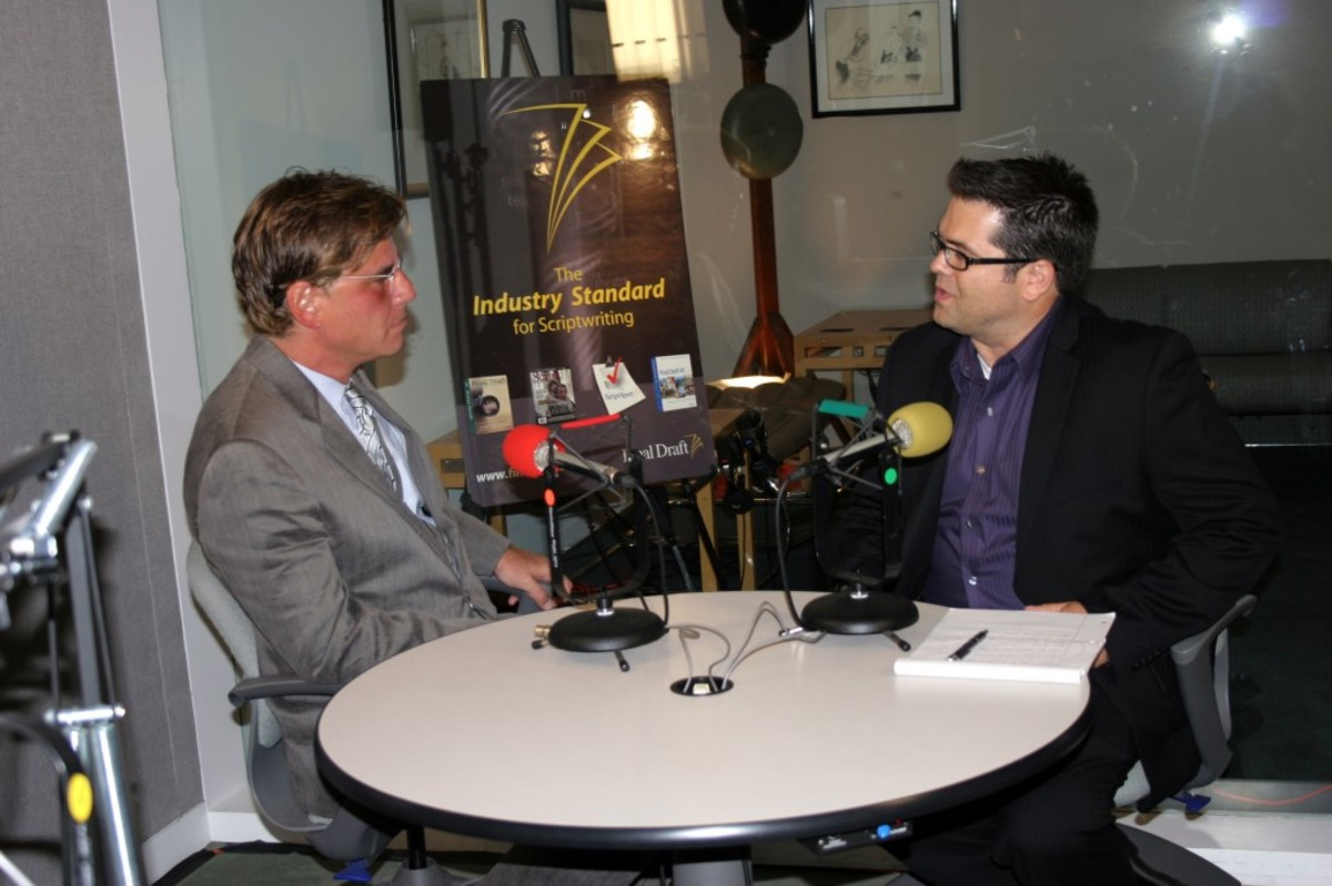 Aaron Sorkin being interviewed by Script magazine West Coast Editor, Joshua Stecker.