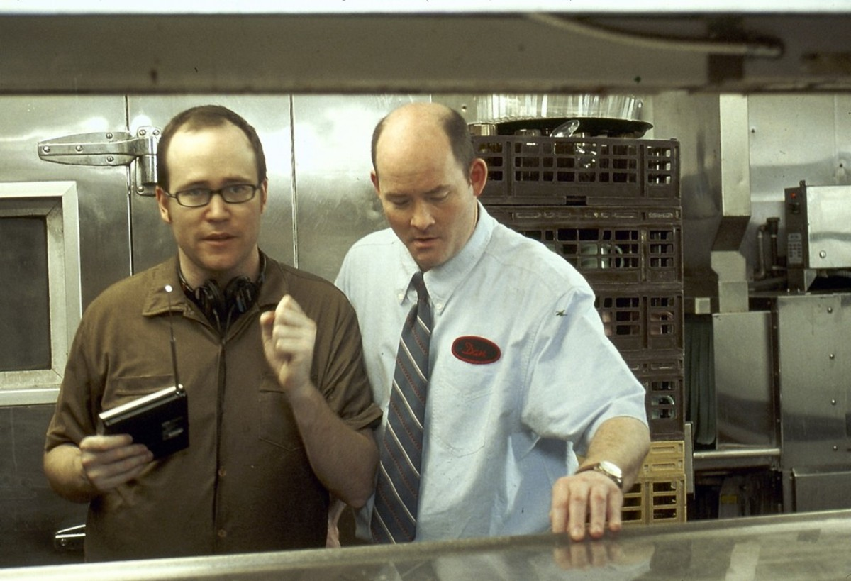 Rob McKittrick and David Koechner (as Dan) on the set of Waiting. (Photo: Steven Teagle)