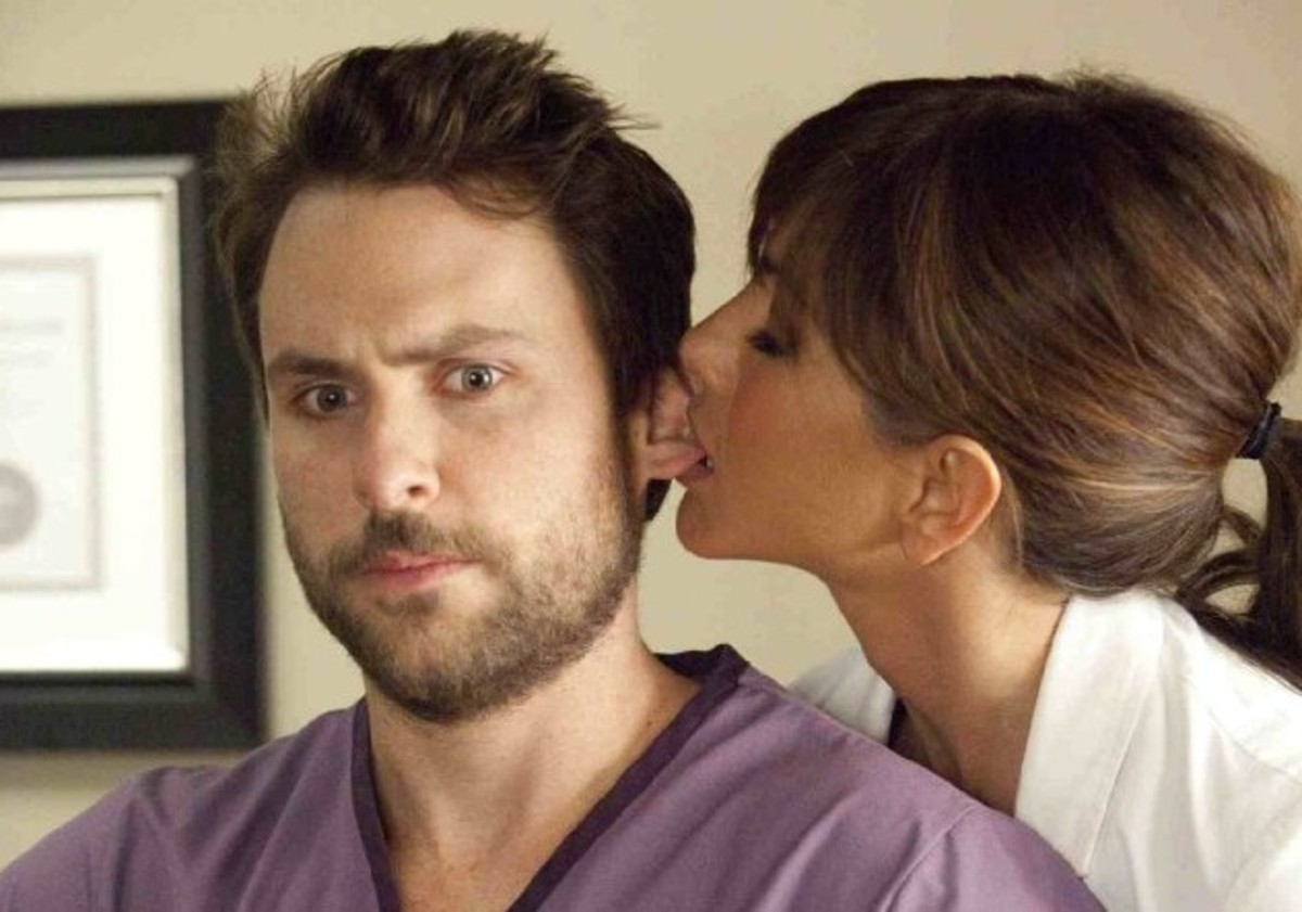 Charlie Day and Jennifer Aniston in Horrible Bosses.