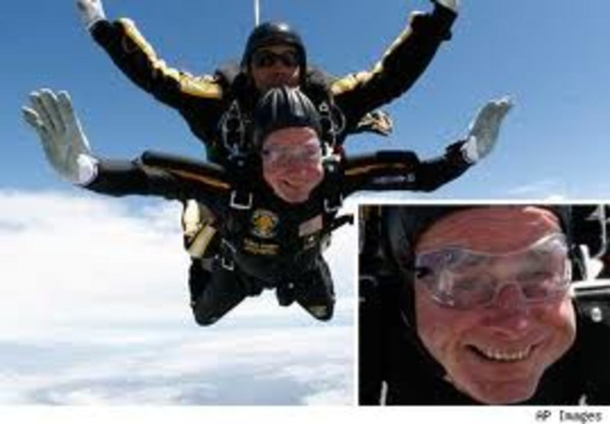 President Bush went skydiving at 85. (Granted, this is less scary than starting a screenwriting career, but still...)