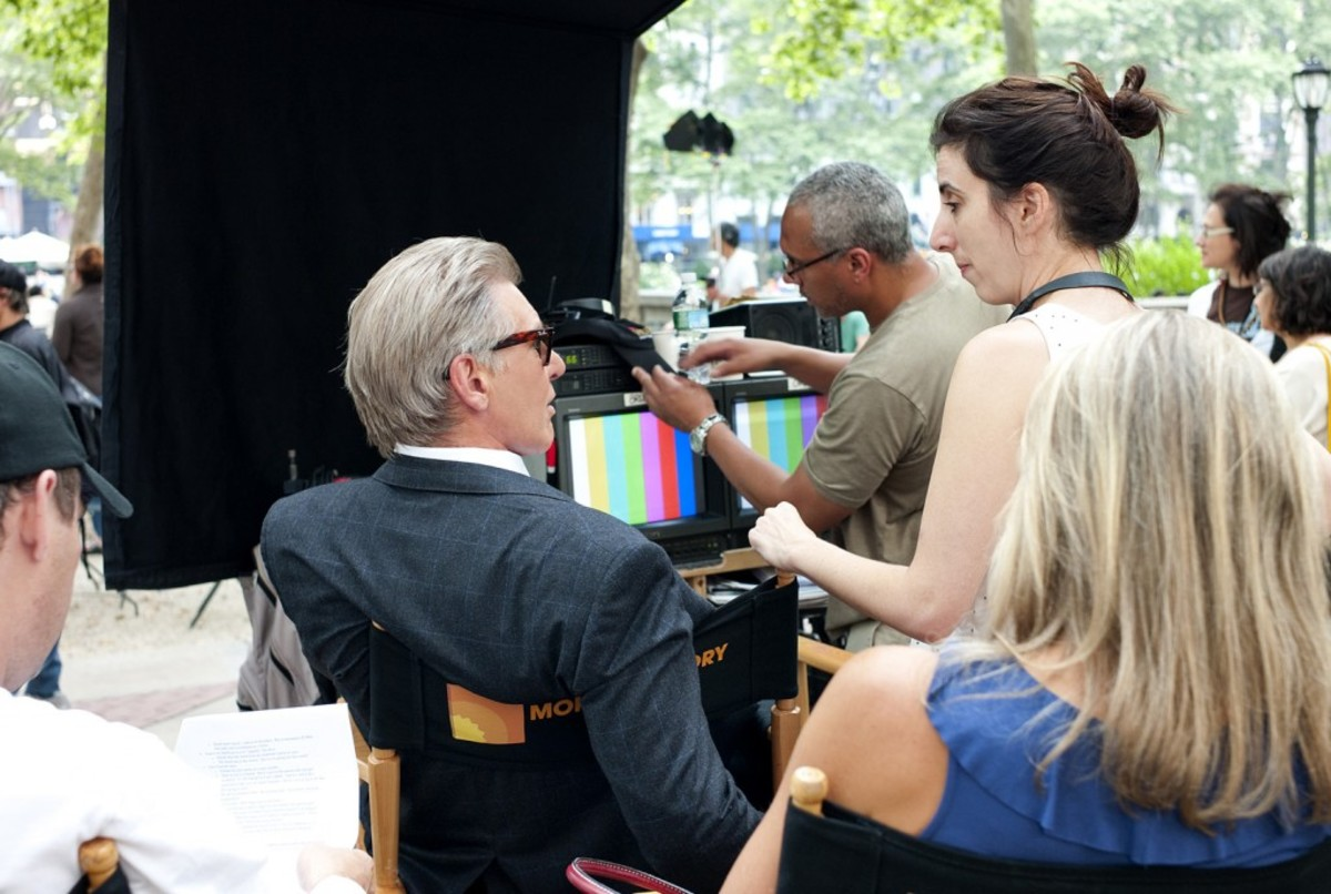 Aline Brosh McKenna on the set of Morning Glory with Harrison Ford