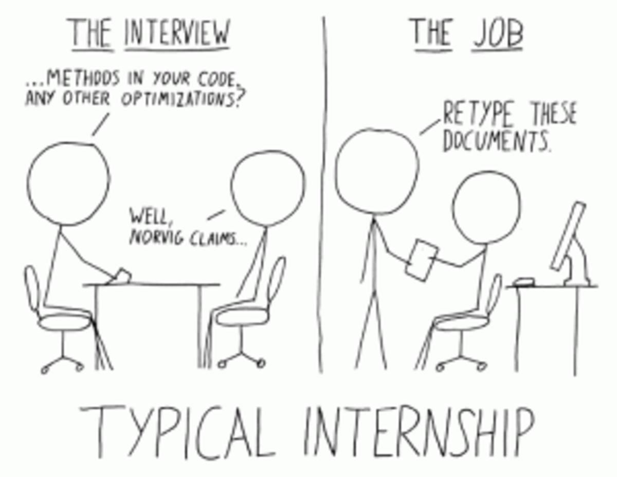Internship stick figure cartoon
