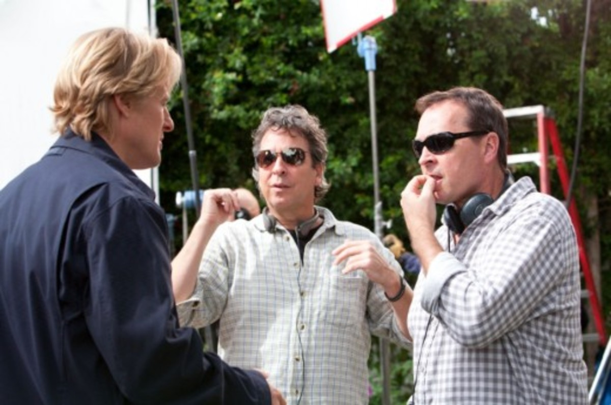 Writer/directors Bobby Farrelly (center) and Peter Farrelly (right) talk to actor Owen Wilson on the set of Hall Pass.