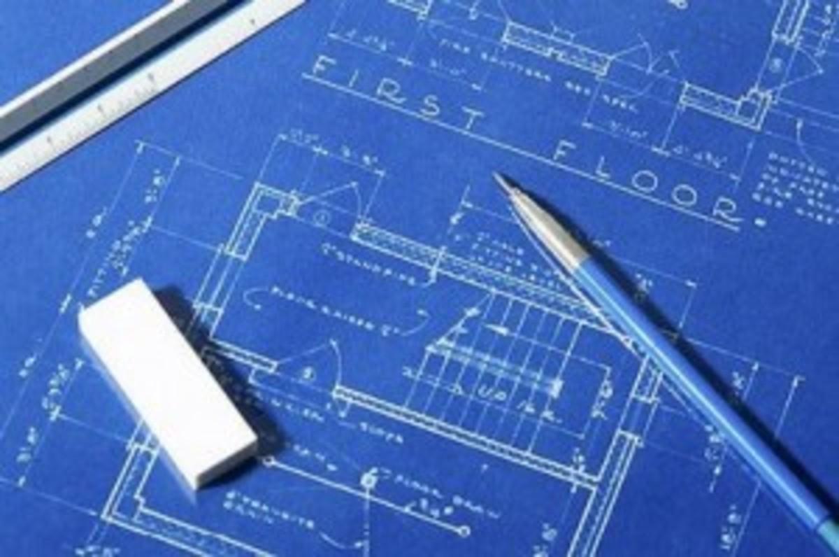 House blueprint pencil drafting outline