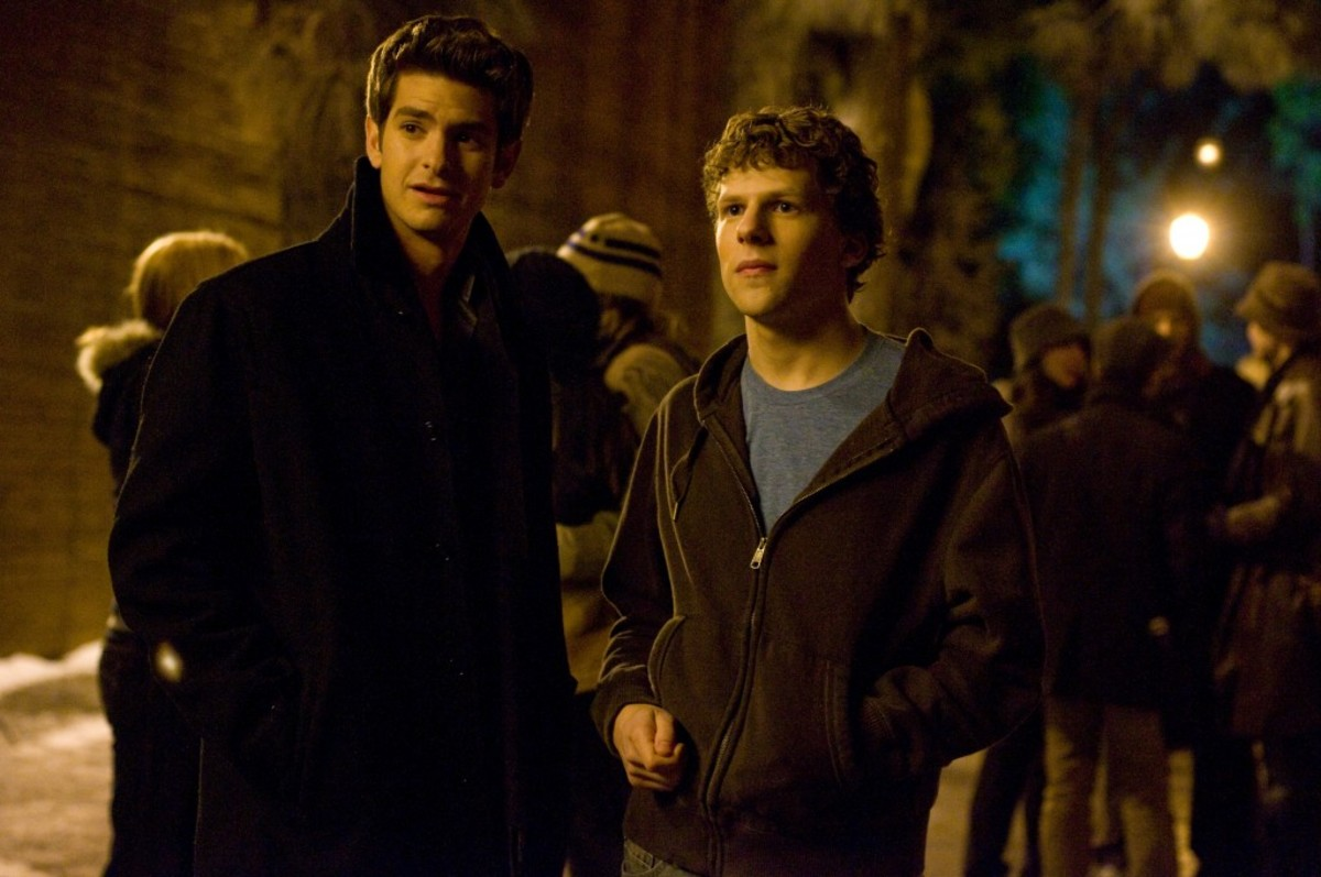 "Andrew Garfield, left, and Jesse Eisenberg stars as ""Mark Zuckerberg"" in Columbia Pictures' ""The Social Network."""
