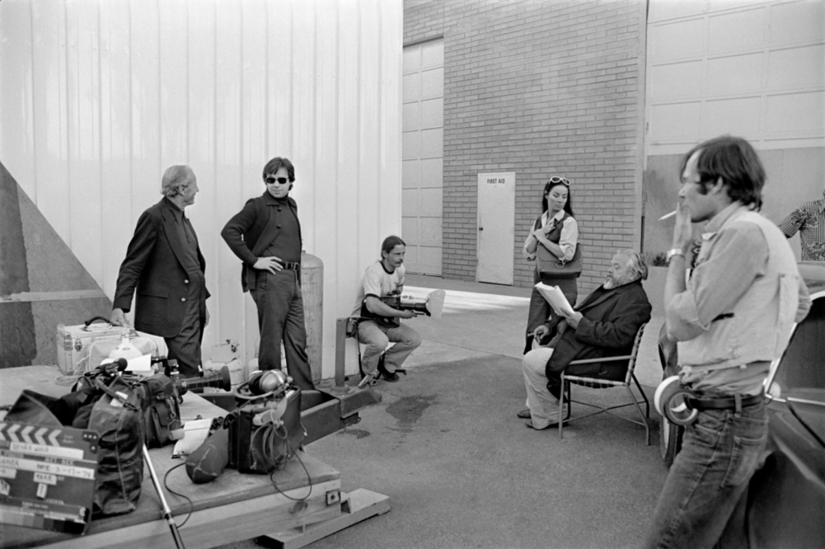 Orson Welles and his VISTOW on the set of The Other Side of the Wind