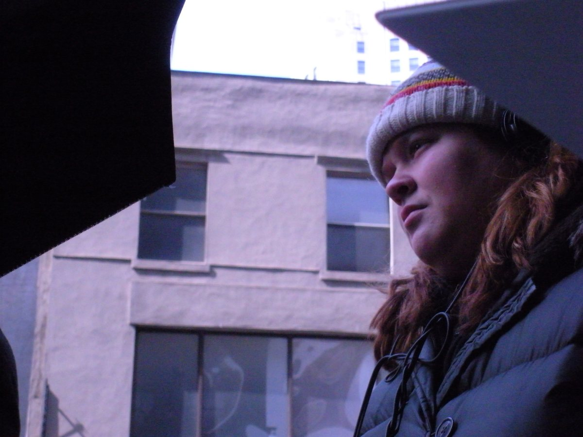 Katie on the set of SEEKING SUBLET.