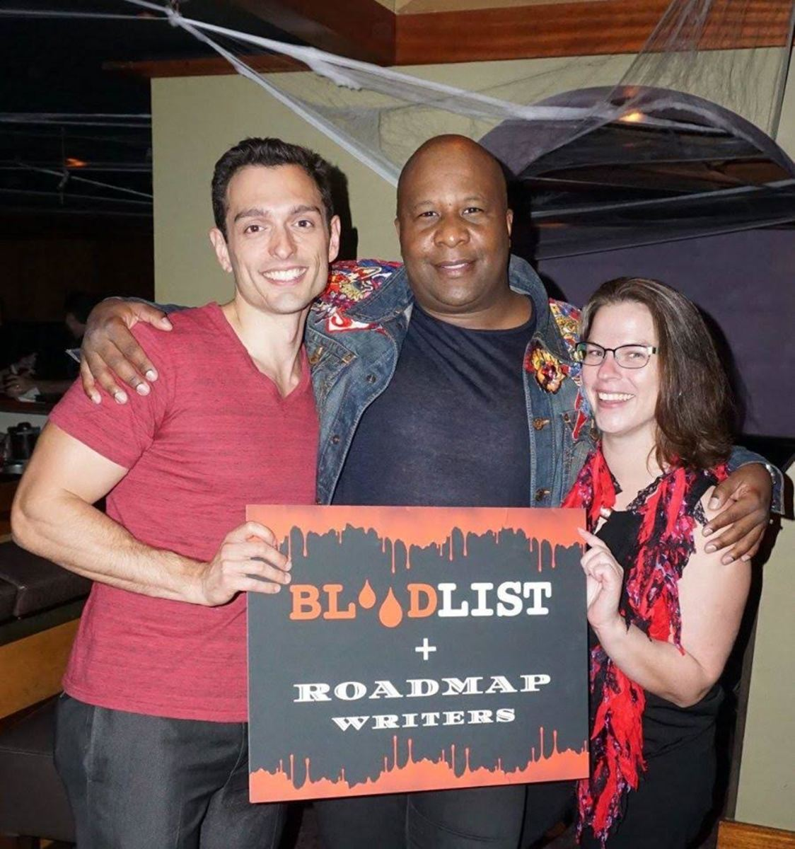 Joey Tuccio with Top Tier member Jela Okpara and COO Dorian Connelly at Roadmap's 2016 Bloodlist party.