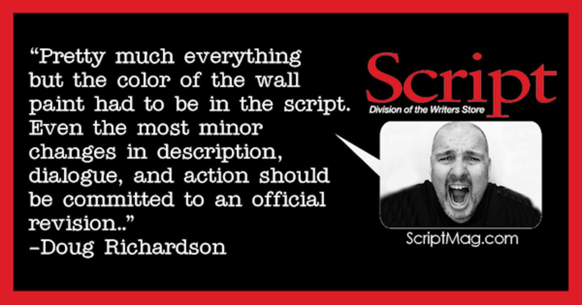 Doug Richardson writer on set