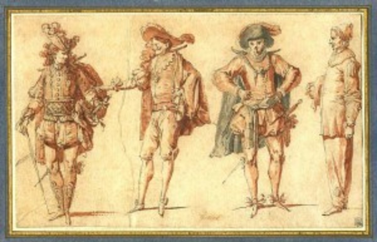 Commedia dell'arte character types from the late sixteenth century.