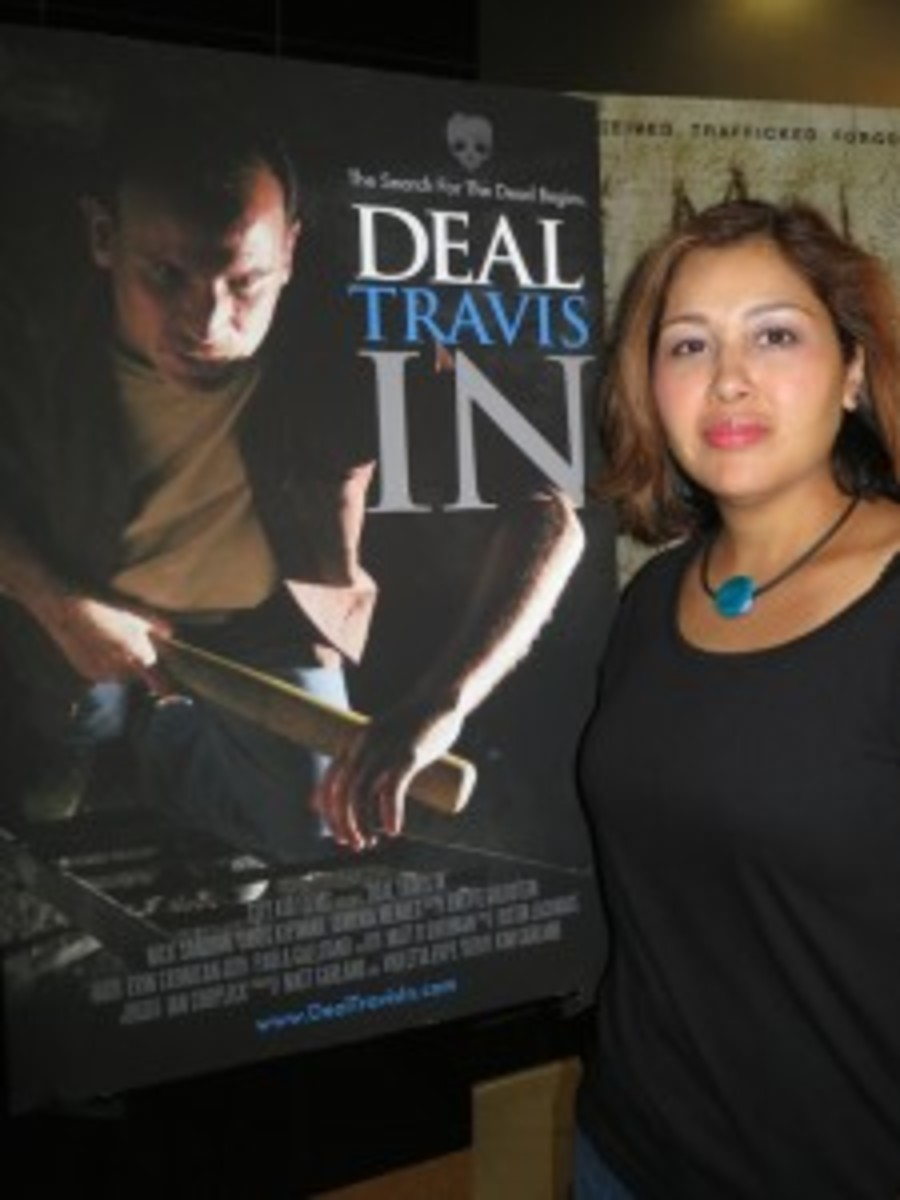 A girl and her film poster.