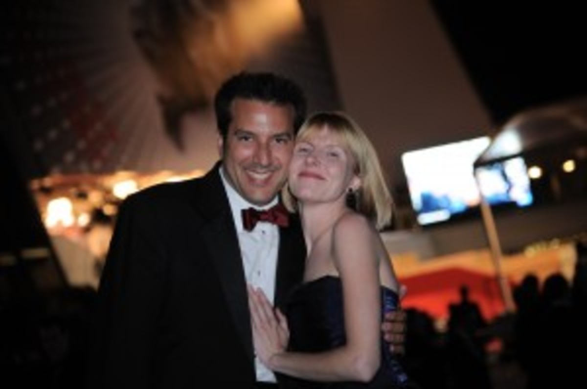Kevin Resnick and Rebecca Norris in front of the Palais des Festivals
