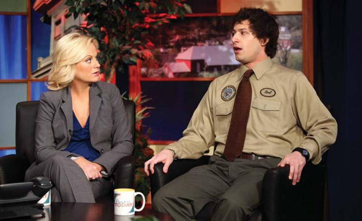 Poehler with guest star Andy Samberg as Carl Photo: Justin Lubin Courtesy: NBC Universal