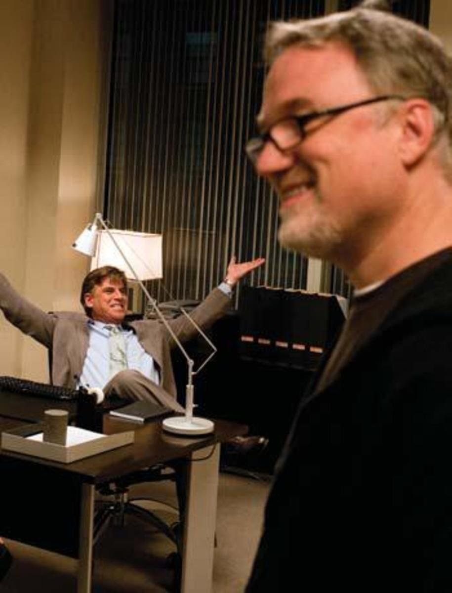 Screenwriter Aaron Sorkin and director David Fincher on the set Photos: Merrick Morton Courtesy: Columbia Pictures