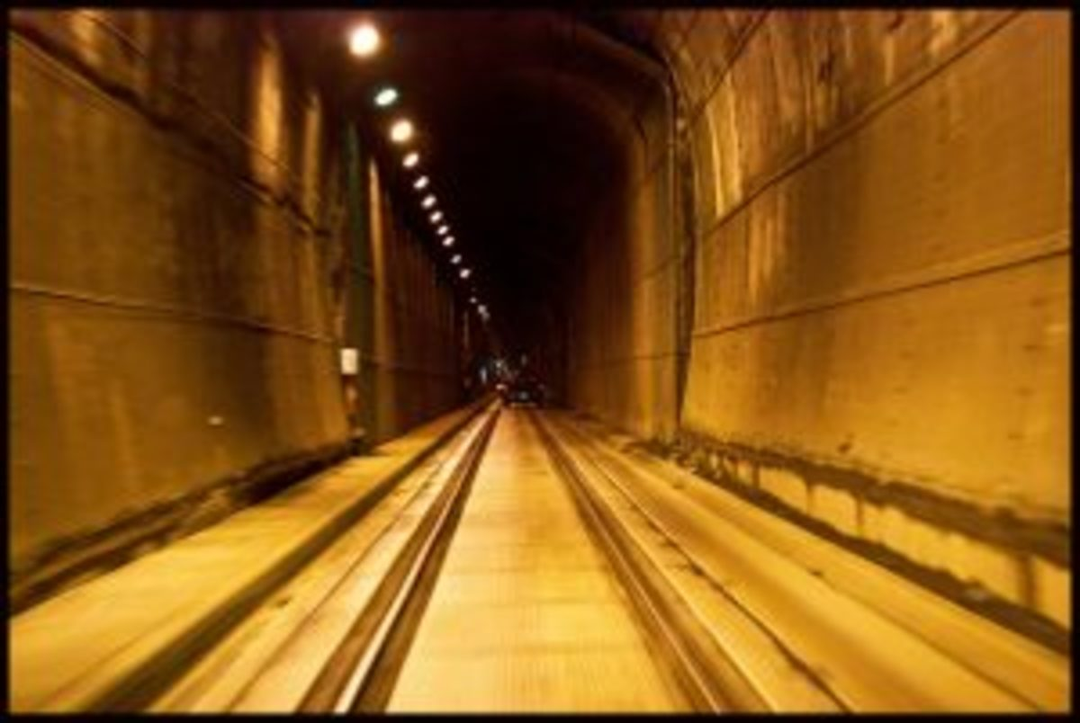 Inside the tunnel to Whittier.