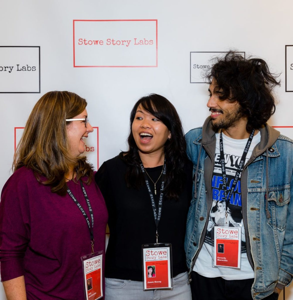 Jodi Asadourian, Jamie Hoang, and Gerry Maravilla at the 2018 Stowe Fall Narrative Lab