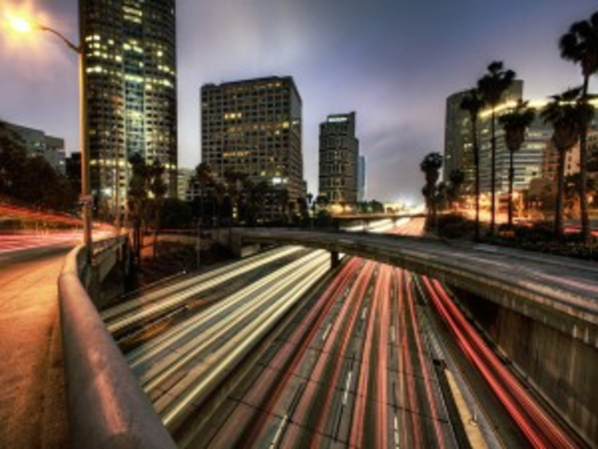 Traffic at dusk, Los Angeles, California, USA