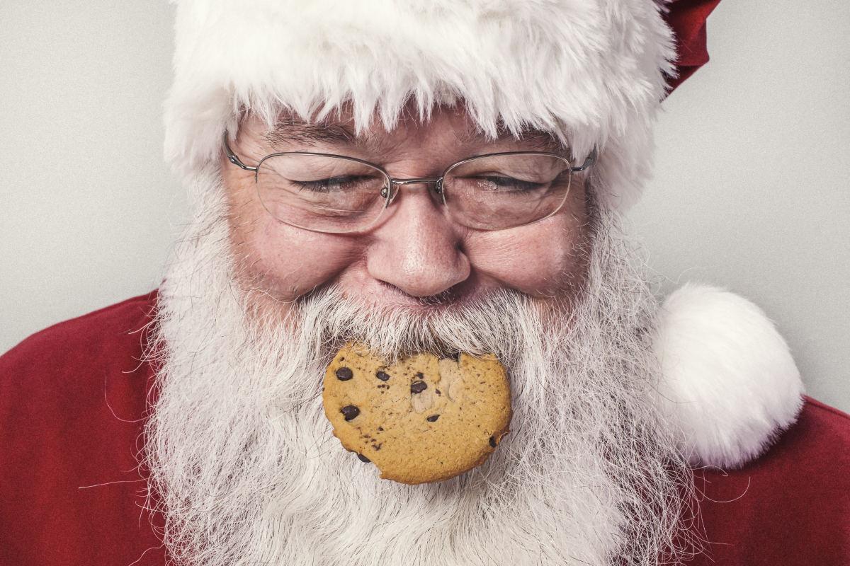 Santa eats a cookie