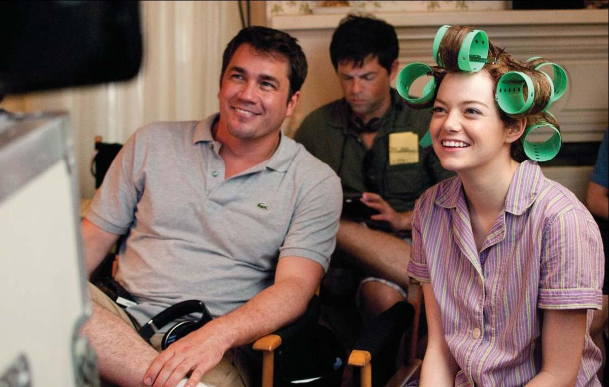 Writer-director Tate Taylor on the set with Emma Stone as Skeeter Phelan
