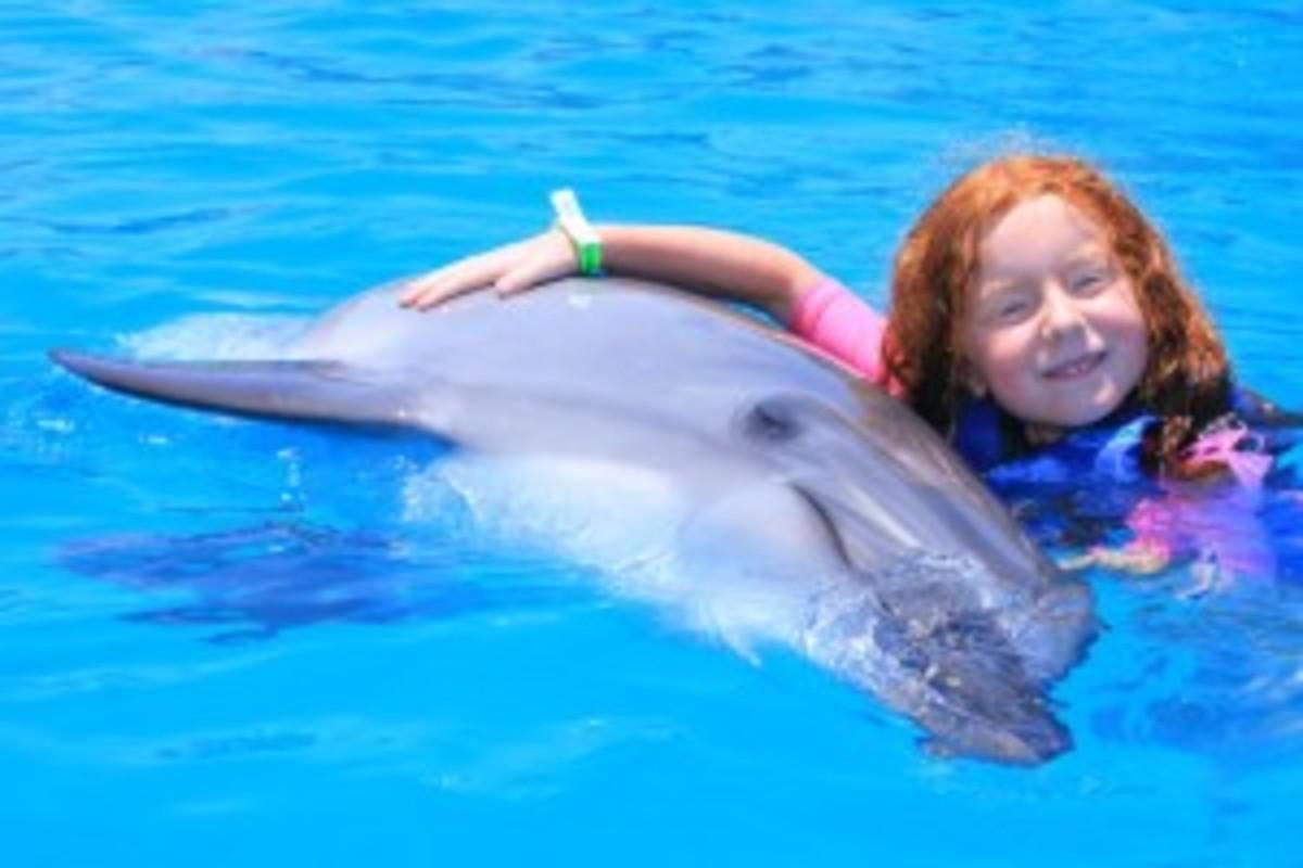 dolphin + redheaded girl