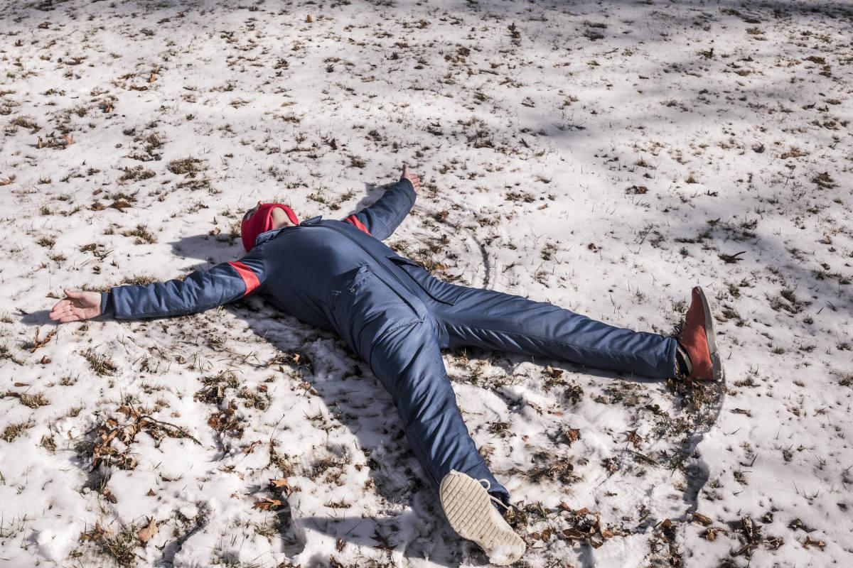 Dead man in snow