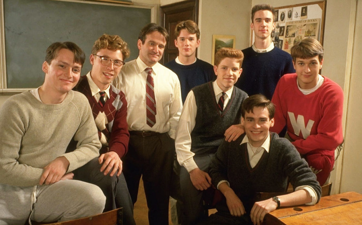 The cast of Dead Poets Society. Left to right: Gale Hansen (Charlie Dalton), Allelon Ruggiero (Steven Meeks), Robin Williams (John Keating), Ethan Hawke (Todd Anderson), Dylan Kussman (Richard Cameron), Robert Sean Leonard (Neil Perry), James Waterston (Gerard Pitts), Josh Charles (Knox Overstreet)